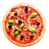 Πίτσα ζαμπόν, ντοματών και τυριών που απομονώνεται στο άσπρο υπόβαθρο καυτός Στοκ Εικόνα