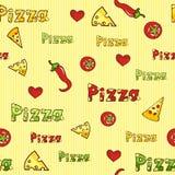 Πίτσα, ζωηρόχρωμη άνευ ραφής ανασκόπηση Στοκ Φωτογραφίες