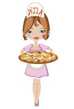 πίτσα κοριτσιών Στοκ φωτογραφίες με δικαίωμα ελεύθερης χρήσης