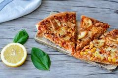 Πίτσα κοτόπουλου Στοκ Φωτογραφία