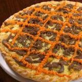 πίτσα κρέατος τυριών τυρι&omicr Στοκ Εικόνα