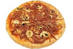 Πίτσα μανιταριών Ολόκληρο ένα ζαμπόν με τη ζωηρόχρωμη πίτσα μανιταριών Στοκ Φωτογραφίες