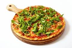 Πίτσα με τα θαλασσινά και το arugula Στοκ Εικόνες