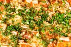 Πίτσα με το κοτόπουλο, το κρεμμύδι, το τυρί και τα πράσινα ως υπόβαθρο ή σύσταση των τροφίμων Στοκ Φωτογραφία
