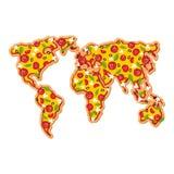 Πίτσα παγκόσμιων χαρτών Ήπειροι του γρήγορου φαγητού πλανήτη Γη γεωγραφία ελεύθερη απεικόνιση δικαιώματος