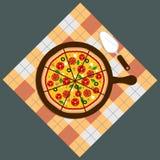Πίτσα Παράδοση πιτσών Πίτσα στο υπόβαθρο πινάκων κιμωλίας Φραγμός πιτσών Επιλογές πιτσών διανυσματική απεικόνιση
