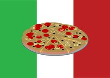 Πίτσα στην ιταλική σημαία Στοκ Εικόνα