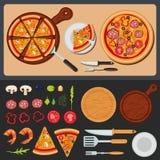 Πίτσα στο πιάτο και συστατικά για την πίτσα απεικόνιση αποθεμάτων