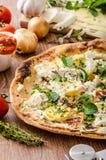 Πίτσα Bianco με τη Rosemary και Pancetta Στοκ Φωτογραφία