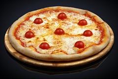 Πίτσα Margherita, τυρί μοτσαρελών, ντομάτες κερασιών, oregano Στοκ εικόνα με δικαίωμα ελεύθερης χρήσης