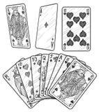 Παίζοντας απεικόνιση καρτών, σχέδιο, χάραξη, μελάνι, τέχνη γραμμών, διάνυσμα απεικόνιση αποθεμάτων