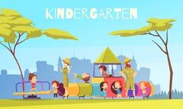 Παίζοντας επίγεια σύνθεση παιδικών σταθμών διανυσματική απεικόνιση