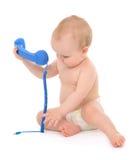 Παίζοντας κλήση μικρών παιδιών παιδιών μωρών παιδιών νηπίων τηλεφωνικώς στοκ φωτογραφία με δικαίωμα ελεύθερης χρήσης