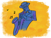 Παίζοντας μουσική saxophonist της Jazz Στοκ φωτογραφία με δικαίωμα ελεύθερης χρήσης