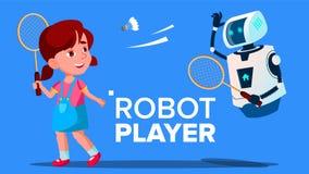Παίζοντας μπάντμιντον ρομπότ με ένα διάνυσμα κοριτσιών παιδιών απομονωμένη ωθώντας s κουμπιών γυναίκα έναρξης χεριών απεικόνιση απεικόνιση αποθεμάτων