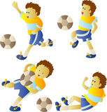 παίζοντας ποδόσφαιρο κατσικιών Στοκ Εικόνες