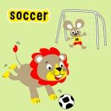 Παίζοντας ποδόσφαιρο κινούμενων σχεδίων ζώων στον τομέα απεικόνιση αποθεμάτων