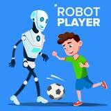 Παίζοντας ποδόσφαιρο ρομπότ με ένα διάνυσμα αγοριών παιδιών απομονωμένη ωθώντας s κουμπιών γυναίκα έναρξης χεριών απεικόνιση διανυσματική απεικόνιση