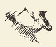 Παίζοντας συρμένο saxophone διανυσματικό σκίτσο ατόμων απεικόνιση αποθεμάτων