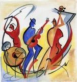 Παίζοντας σύνθεση τζαζ τρίο της Jazz στο στάδιο Στοκ εικόνα με δικαίωμα ελεύθερης χρήσης