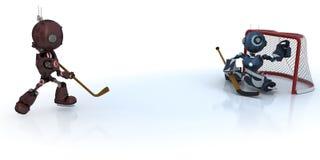 Παίζοντας χόκεϋ πάγου Androids Στοκ εικόνα με δικαίωμα ελεύθερης χρήσης