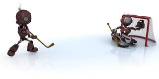 Παίζοντας χόκεϋ πάγου Androids Στοκ φωτογραφία με δικαίωμα ελεύθερης χρήσης