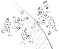 Παίκτες πετοσφαίρισης, ομάδα στην αντιστοιχία Απεικόνιση αποθεμάτων