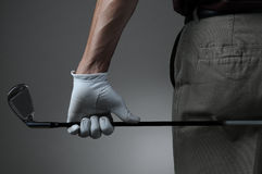 παίκτης γκολφ λεσχών κινηματογραφήσεων σε πρώτο πλάνο Στοκ φωτογραφία με δικαίωμα ελεύθερης χρήσης