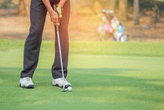 Παίκτης γκολφ στη δράση που βάζει τη σφαίρα γκολφ στην πράσινη χλόη κοντά στην τρύπα Στοκ εικόνες με δικαίωμα ελεύθερης χρήσης
