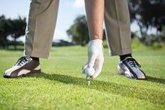Παίκτης γκολφ που τοποθετεί τη σφαίρα γκολφ στο γράμμα Τ Στοκ Εικόνες