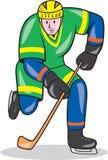 Παίκτης χόκεϋ πάγου με τα κινούμενα σχέδια ραβδιών ελεύθερη απεικόνιση δικαιώματος