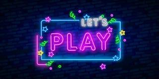 Παίξτε το σημάδι νέου, φωτεινή πινακίδα, ελαφρύ έμβλημα Λογότυπο, έμβλημα και ετικέτα παιχνιδιών Δημιουργός σημαδιών νέου Το κείμ διανυσματική απεικόνιση