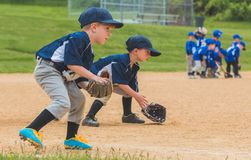 Παίχτες του μπέιζμπολ νεολαίας που τοποθετούν τις επίγειες σφαίρες στοκ εικόνες