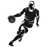 Παίχτης μπάσκετ, σκιαγραφία απεικόνιση αποθεμάτων