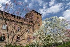 Παβία, Ιταλία: το μεσαιωνικό κάστρο στην άνοιξη στοκ εικόνες