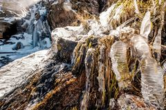 Παγάκια στον καταρράκτη πτώσεων Timberline Στοκ εικόνες με δικαίωμα ελεύθερης χρήσης