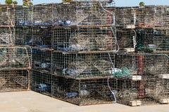 Παγίδες αστακών που συσσωρεύονται σε μια αποβάθρα Ventura, Καλιφόρνια Στοκ φωτογραφία με δικαίωμα ελεύθερης χρήσης