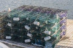 Παγίδες αστακών στην αποβάθρα Στοκ φωτογραφία με δικαίωμα ελεύθερης χρήσης