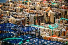 Παγίδες αστακών που συσσωρεύονται Στοκ εικόνα με δικαίωμα ελεύθερης χρήσης