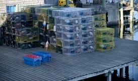 Παγίδες αστακών σε μια αποβάθρα Στοκ φωτογραφία με δικαίωμα ελεύθερης χρήσης