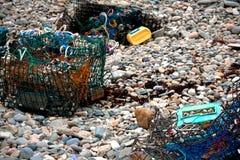 Παγίδες αστακών at Low Tide στην ακτή του Μαίην Στοκ Εικόνα