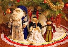 Παγετός παππούδων, κορίτσι χιονιού και χιονάνθρωπος ζωή Χριστουγέννων ακόμα Υγρό watercolor ζωγραφικής σε χαρτί Αφελής τέχνη αφηρ απεικόνιση αποθεμάτων