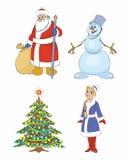 Παγετός παππούδων, χριστουγεννιάτικο δέντρο, κορίτσι χιονιού, χιονάνθρωπος Στοκ Φωτογραφία