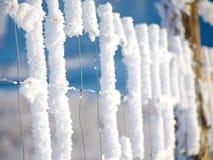 Παγετός στο φράκτη καλωδίων και το μπλε ουρανό Στοκ εικόνες με δικαίωμα ελεύθερης χρήσης