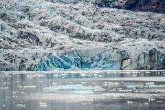Παγετώνας που τελειώνει με μια λιμνοθάλασσα με τα μειωμένα κομμάτια των παγόβουνων Στοκ Εικόνα