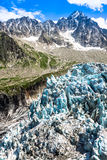 Παγετώνας Argentiere στις Άλπεις Chamonix, ορεινός όγκος της Mont Blanc, Γαλλία Στοκ Εικόνα
