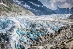 Παγετώνας Argentiere στις Άλπεις Chamonix, ορεινός όγκος της Mont Blanc, Γαλλία Στοκ Φωτογραφία