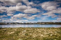 Παγετώνας Hardangerjokulen πάνω από το οροπέδιο Hardangervidda Στοκ Εικόνες