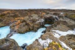 Παγετώδης λίμνη ποταμών, Barnafoss, Ισλανδία Στοκ εικόνα με δικαίωμα ελεύθερης χρήσης