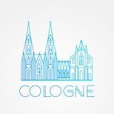 Παγκοσμίως διάσημος καθεδρικός ναός της Κολωνίας Μέγιστα ορόσημα της Ευρώπης Γραμμικό διανυσματικό εικονίδιο για Koln Γερμανία απεικόνιση αποθεμάτων